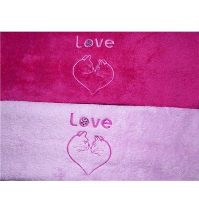 Serviette Motif Chat-love